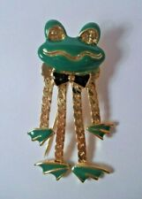Vintage Green Frog Gold Toned Brooch Pin Cartoon Silly Funny Bow Tie 1.5""