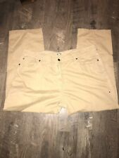 Mens Peter Millar Logo Tan Jeans Distressed Summer Flat Front Size 42 x 28.5