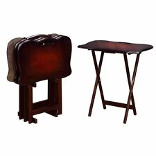 Coaster Folding Tray Table with Stand in Merlot (Set of 4)