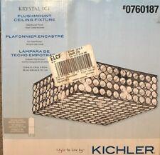 "KICHLER Clear Glass Krystal Ice 11.75"" Flush Mount Ceiling Light Olde Bronze"