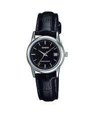 Casio Women's Black Leather Strap Watch, Black Dial, Date, LTP-V002L-1A