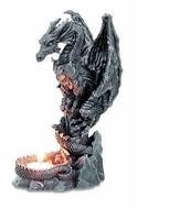 Stone Effect Dragon Candle Holder Gothic Ornament Figure Fantasy Art