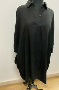 COS Black Shirt Dress Small Tunic Style Oversize Short Sleeve Concealed Buttons