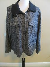 GAP BLACK AND WHITE TWEED JACKET COAT ZIP FRONT 4 POCKETS XL