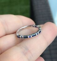 2ct Baguette Round Blue Sapphire Half Eternity Wedding Band 14k White Gold Over