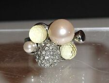 New Wallis Metal Cosmetic Ring Size M Faux Pearl, Crystals & Plastic Beads