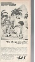 1962 Original Advertising' SAS Scandinavian Airlines Company Aerial Brazil