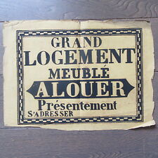 AFFICHE ANCIENNE 1810 GRAND LOGEMENT MEUBLE A LOUER MAISON IMMOBILIER IMPRIMERIE