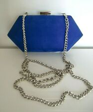 Blue Suedette Clutch Bag with Chain Strap
