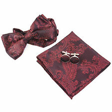 Mens Burgundy Red Paisley Bow Tie Pre Tied Cufflinks Hanky Neckwear Set CR004
