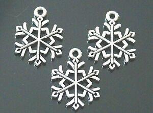 10 20 50 100 Snowflake Christmas Tibetan Silver Charms Pendants 21mm (TSC105)