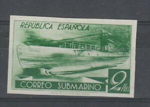 Spain 1938 2p Green Submarine imperf , no gum. Proof?