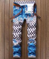Mens spring summer jeans slim denim trousers Straight jeans print zipper pants