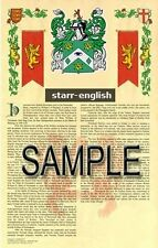 STARR Armorial Name History - Coat of Arms - Family Crest GIFT! 11x17