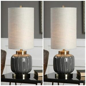 """PAIR ZAHLIA 32"""" EMBOSSED CERAMIC ACCENT TABLE BUFFET LAMP BRASS METAL UTTERMOST"""
