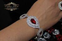 Edeles Luxus Strass Armband,Brautschmuck Bracelet Zirkonia Hochzeit Silber Rot