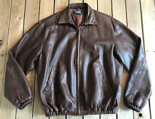 Ralph Lauren Polo Men's Leather Zip Up Jacket Size M In Brown R1