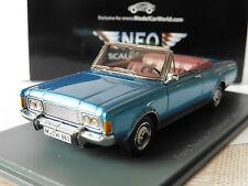 FORD TAUNUS P7 26M DEUTSCH CABRIO 1969 1971 BLUE METAL NEO 45908 1/43 P7b BLAU