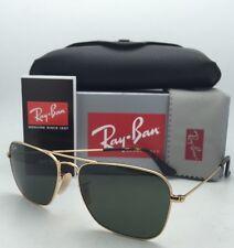 New RAY-BAN Sunglasses CARAVAN RB 3136 181 58-15 Gold & Havana Aviator w/ Green