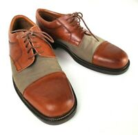 Johnston & Murphy Passport Leather Canvas Cap Toe Oxford Shoes Size 10.5