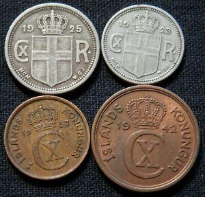 ICELAND, 4 RARE, DIFF TYPE & YEARS, CIRC COINS: 1 EYRIR, 2, 10, 25 AURAR FOREIGN