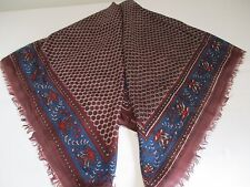 ❤️ MADE IN INDIA BNIP MARROON BROWN TINY FLOWER PRINT XL PURE SILK SQUARE SCARF
