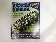 MOTOR MANUAL OCT 1973 LH TORANA BATHURST 73 MOFFATT BROCK CHARGER GT HARDTOP