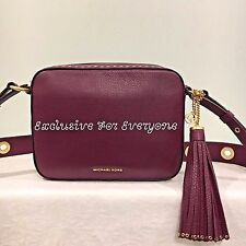 NWT Michael Kors Brooklyn Plum Large Camera Crossbody Leather Bag $398