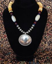 Hand made Trade Bead necklace silver tribal pendant Venetian wound glass beads