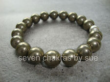Feng Shui - 10mm Golden Pyrite Mala Bracelet + 925 Sterling Silver