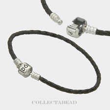"Authentic Pandora Silver Single Black Leather 8.1"" Bracelet 590705CBK-S3"