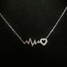 STERLING SILVER NECKLACE. EKG HEARTBEAT LOVE WAVE PENDANT SPARKLING CZ CRYSTALS.