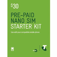 NEW TELSTRA PREPAID $30 NANO SIM CARD STARTER PACK KIT NEXT G 3G 4G GSM MOBILE