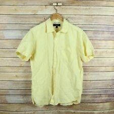 BANANA REPUBLIC Men's Linen Slim Fit Short Sleeve Button Front Shirt M Medium