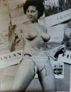 Vintage Silver Gelatin Photo Bettie Page Era Model June Palmer Breast Nipples