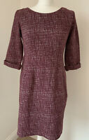 Burgundy Purple & White Textured White Stuff Stretch Tunic Dress UK 10