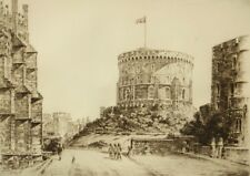 Frederick Farrell pencil signed original etching; Round Tower, Windsor Castle