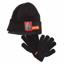 NEW NAVY BLUE SPIDERMAN WINTER WOOL PEAK CAP/HAT & GLOVES 2 PIECE SET 4-8 YEAR