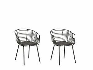 Set of 2 Metal Dining Chairs Black Wire Backrest Faux Leather Seat Pad Hoback