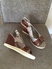 Ladies Gabor Brown Mix / Leather Wedge Sandals Size 39.5 Uk 6.5
