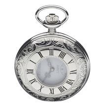 Jean Pierre Chrome Plated Engraved Half Hunter 17 Jewel Pocket Watch, ref G100CM