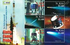ESA GIOTTO Halley's Comet Spacecraft Probe Space Stamp Sheet (2008 St Kitts)