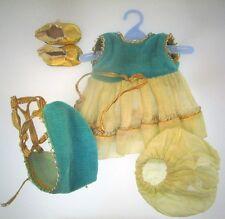 "Vtg Teal & Tan Vogue Ginny Dress Bloomers Bonnet 8"" Dolls Plastic Shoes Outfit"