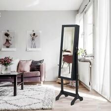 Practical Lockable Mirror Jewelry Cabinet Armoire Organizer Storage Standing