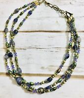 triple strand purple green gold Tone beads necklace