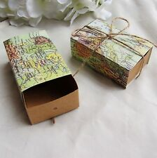 100pcs World Map Box with Jute Tie Wedding Gift Candy Boxes Bomboniere Favors