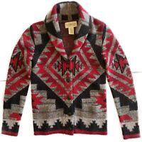 Ralph Lauren Denim Supply Cardigan Sweater Size XS Red Alpaca Wool Navajo Knit