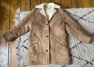 "Ladies Vintage LANGMORE Brown Genuine Leather Sheepskin Coat UK Size M 40"""
