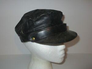 Vintage 70s 80s Leather Motorcycle Hat Cap S/M