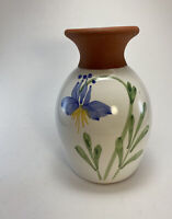 Emerson Creek Pottery Hand Painted Vase Columbine Redware Art Pottery